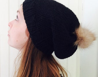My furry pompom hat in black ( sale )