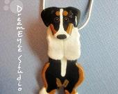 Australian Shepherd Black Tri Hangin' On Artist Hand-made Clay Pendant F1
