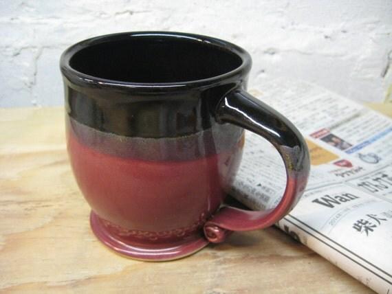 Ceramic Coffee Mug, Black and Red
