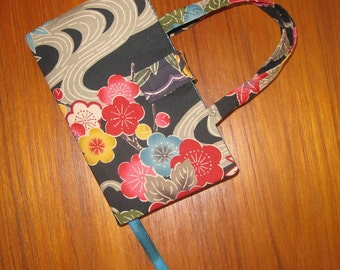 STANDARD SIZE Paperback Fabric Book Cover Bingata Okinawa Motifs Floral Design