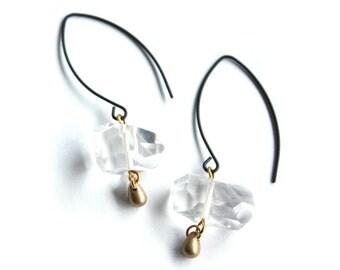 Quartz Earrings, Crystal Earrings, Faceted Quartz, Herkimer Diamond Earrings, Boho Earrings, Modern Crystal Earrings, Minimalist Earrings
