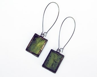 EARRINGS - Stained Glass Earrings - Kidney Wire Earrings - St. Patrick's Day