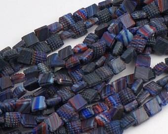 1 hank vintage nailhead beads, dark blue multicolor Czech glass flatback 5mm