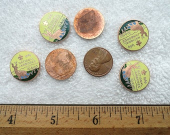 1969 National Jamboree, Idaho, Boy Scouts, 6 Enamel Tokens or Cabs