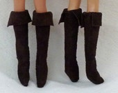 Fashion Doll Boots Shoes Suede Boots for dolls that wear high heels - dark brown and other colors