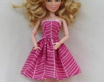 "Handmade 11.5"" doll dress in pinks"