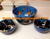 bernese mountain Dog whimsical set of 3 ceramic  hand painted   midnight snack bowls maggie brudos tangerine studio