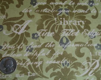 Green Damask with Words / Vintage Art Store / Lecien Japanese Import - cotton quilt apparel fabric by the yard