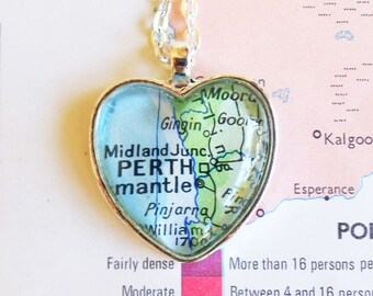 Necklace with Perth map - heart shaped silver pendant - ready to ship