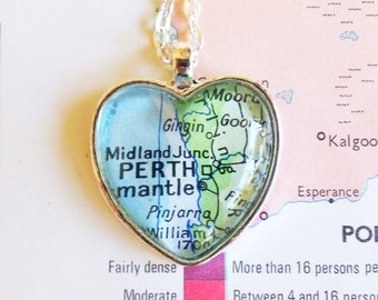 Necklace with Perth map - heart shaped silver pendant