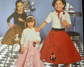Costume Sewing Pattern Simplicity 0698 Girl's Poodle Skirts Size 3-6 UNCUT