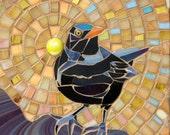 Blackbird I Mosaic Card - Blank Greetings Card - Mosaic Art