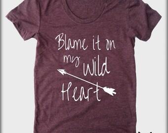 Blame it on my WILD HEART American Apparel tee t shirt Heathered vintage style screenprint ladies scoop top