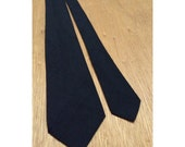 RESERVED 1950s Classic Solid Black Raw Silk Vintage Men's Tie