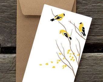 Goldfinch on Bare Branches - 8 Blank flat notecards and envelopes