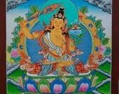 Manjushree Bodhisattva of Divine Wisdom-Original Buddhist Painting. - non-profit