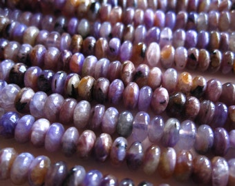 Smooth Charoite semiprecious stone beads - button rondelles - 5mm X 3mm - 22 beads