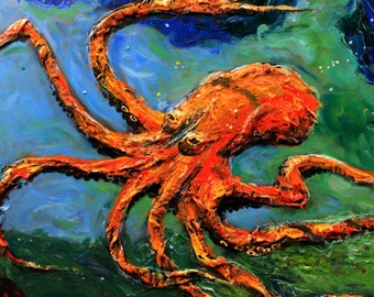 Octopus 8X10 Impasto Acrylic Painting Art print Beach Decor FREE US SHIPPING every day by Barry Singer