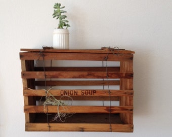 Vintage Wood Crate, Wood Slat Box with Hinged Cover,  Sits or hangs on wall, Plant shelf