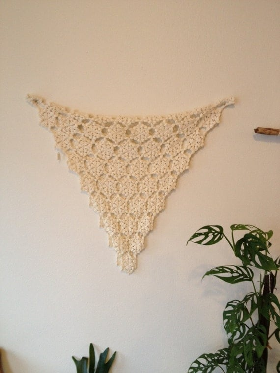 Vintage Crochet Wall Hanging, Crochet Textile, Beautiful Handmade ...