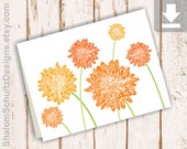 Card, Thank You, Note, Flower, Blank, Birthday, Dahlia, Garden, Bloom, Digital File, Instant Download, Printable, Orange, Tangerine, Green