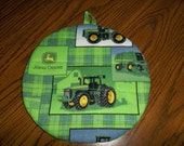 John Deere Tractors on Green Plaid Quilted Hot Pad or Pot Holder Round Cotton Fabric Insulated Trivet 9 Inches