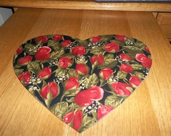 Mouse Pad, Red Roses, Mouse Pads, Red, Desk Accessory, Office Decor, Handmade, Gift, Mousepad, Heart Shaped, Mouse Mat, Computer Mouse Pad