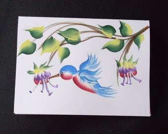 Hand painted card, HUMMINGBIRD card, painted cards, greeting cards, note cards, rustic cards, blank cards, free shipping