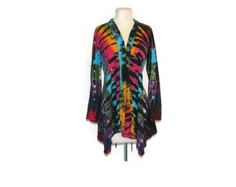 Tie Dye Waterfall Jacket with Ties in Tiger Rainbow