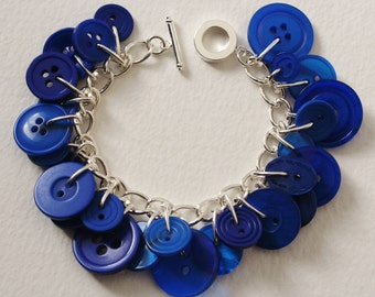 Button Bracelet Bright Royal Blue
