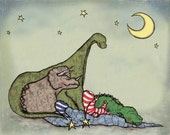 "Dinosaur Art Print ""Dinosaur Sleepover"" Nursery Artwork Print, Baby Boy Children's Toddler Room Decor"