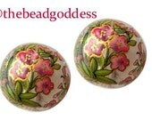 New Design Pair Beautiful Japanese Tensha Beads PANSY BOUQUET on CLEAR 12mm