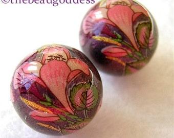 New Design Pair Beautiful Japanese Tensha Beads Pink CROCUSES on PURPLE METALLIC 12mm