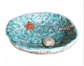 Pottery Dish with star fish and sea shell in Ocean blue Hand Crafted Ceramic