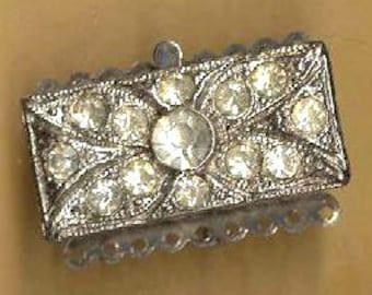 vintage art deco clasp NINE strand rhinestone clasp silvertone make a multistrand necklace antique clasp