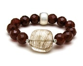 Rutilated Quartz Carnelian Luxe Modern Beaded Bracelet / Pantone Marsala Inspired /  Statement Gemstone Stretch Bracelet
