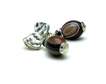 Organic Banded Agate and Sterling Silver Stud Earrings Luxe Flawless Stones Earthy Post Modern Woodland Rustic Urban