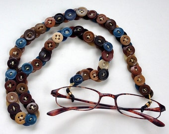 Eyeglass Chain in Vintage Buttons in Browns and Blue