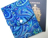PASSPORT CASE, passport cover, travel wallet, snap closure, two pockets, optional adjustable cord, Paisley blues!