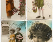 16 Vintage Art Deco Postcards of  Children 1920s Fashions French Script and Postage Stamps
