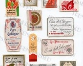 Vintage Variety of 13 Small French Perfume Labels Original Ephemera from France Bon Marche Paris