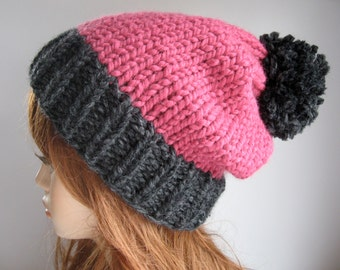 Slouchy Knit Hat with Pom Pom / VAIL / Raspberry and Charcoal