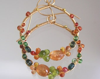 Gemstone Encrusted Hoops, Wire Wrapped 14k Gold Filled Earrings with Imperial Topaz, Green Tsavorite, Sapphire