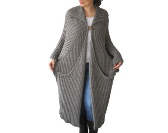 NEW! Hand Knitted Maxi Coat Cardigan with Big Pockets Tweed Brown - Ecru Blended Color Plus Size Over Size