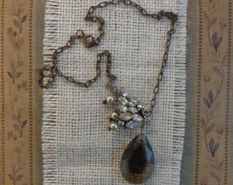 Crystal Teardrop Necklace with Vintage Elements, One of a Kind