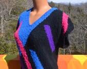 vintage 70's short sleeve sweater OP ART knit black purple shirt women Medium colter bay 80s