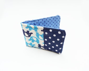 Blue and white novelty patchwork cotton card case