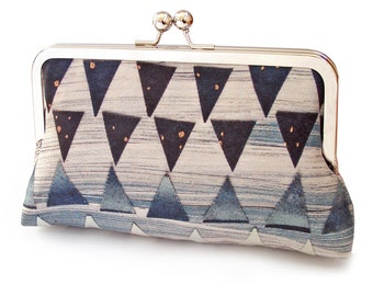 Triangles clutch bag, silk purse, blue, orange, white, printed silk, gift box, ON SALE