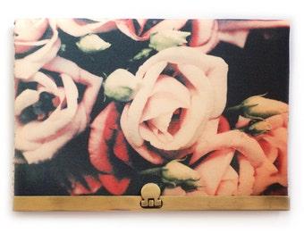 Wallet clutch, pink flower petals, brass purse clasp, zipper bag, LISIANTHUS