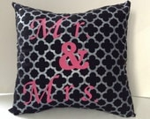 Mr. & Mrs. Pillow Covers/Ready to Ship/Black Silver Pink Quatrefoil Design-Personalized Pillow-Wedding Gift-Bridal Gift-Shower Gift